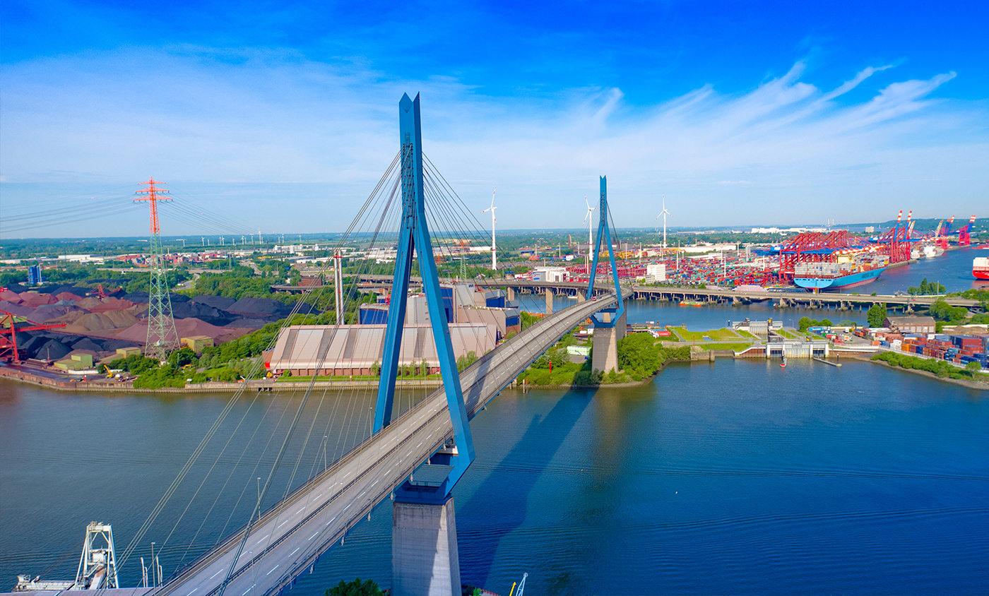 Baudokumentation Köhlbrandbrücke Hamburg Luftbild Drohne